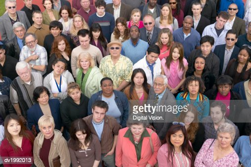 Elevated View of a Crowd of People : Stock Photo