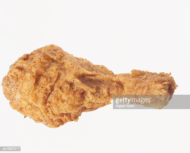 Elevated View of a Fried Chicken Drumstick