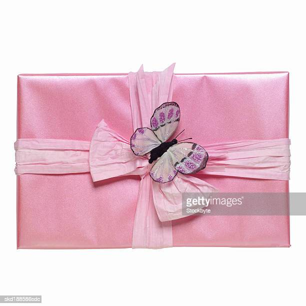 Elevated view of a gift with ribbon