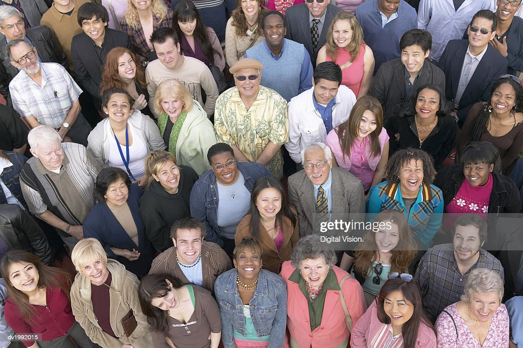 Elevated View of a Large Crowd of People, Looking at the Camera : Stock Photo