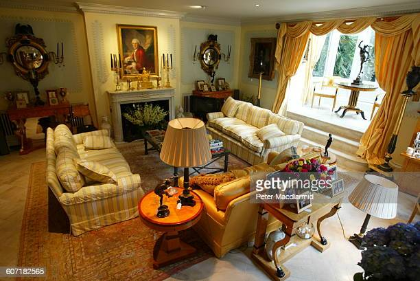 Elevated view of a living room in Elton John's home London England September 12 2003 A number of items are tagged by Sotheby's for an auction