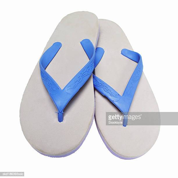 Elevated view of a pair of flip-flops