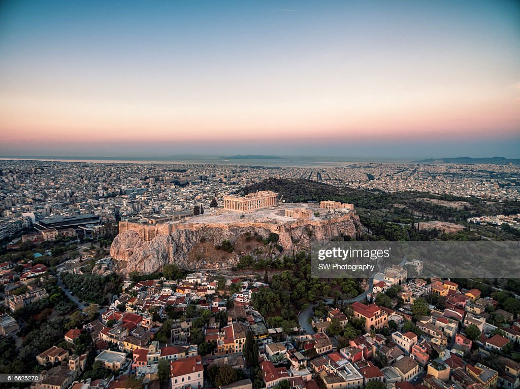Elevated view of Acropolis of Athens, Greece : Stock Photo