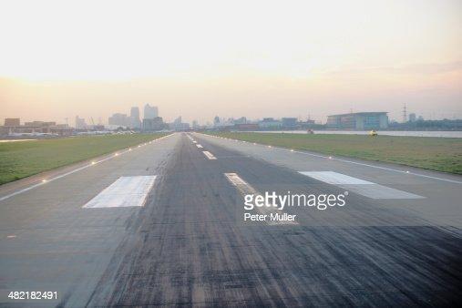 Elevated view of airport runway, London, UK