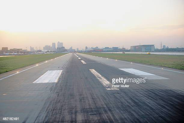 Elevated view of airport runway, London, UK