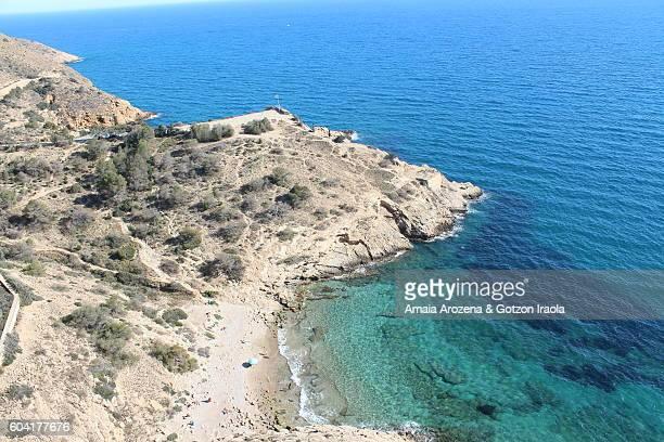 Elevated view of Almadraba Cove in Benidorm