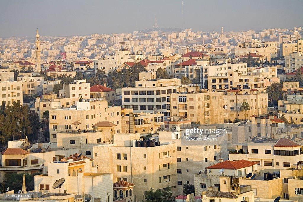 Elevated view of Al-Radhwan quarter at sunrise