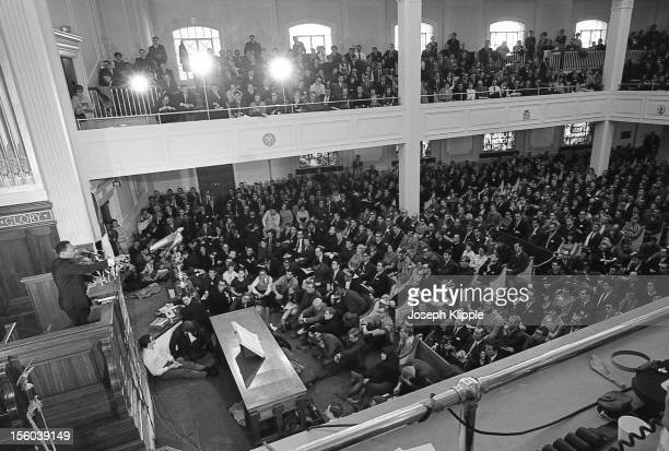 Elevated view of American Civil Rights leader Dr Martin Luther King Jr as he speaks from a lecturn at the New York Avenue Presbyterian Church...