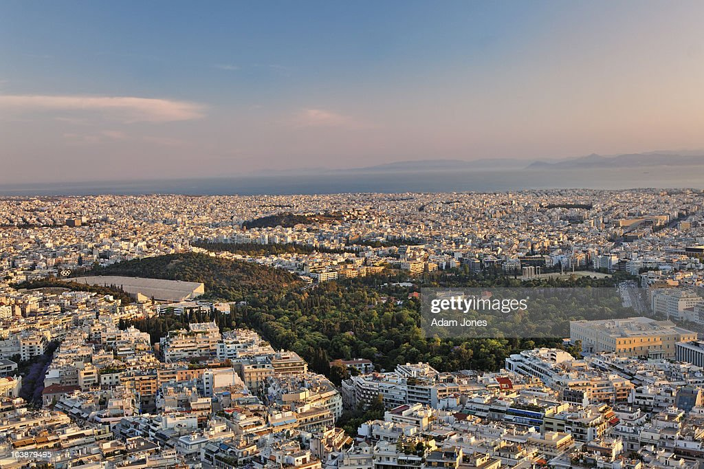 Elevated view of Athens at dusk : Stock Photo