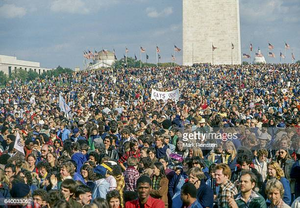 Elevated view of attendees at the first National March on Washington for Lesbian and Gay Rights Washington DC October 14 1979 The Washington Monument...