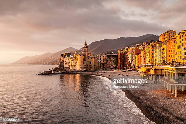 Elevated view of beach and hotels, Camogli, Liguria, Italy