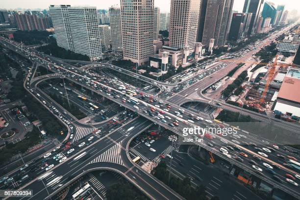 Elevated View of Beijing CBD Rush Hour at Dusk