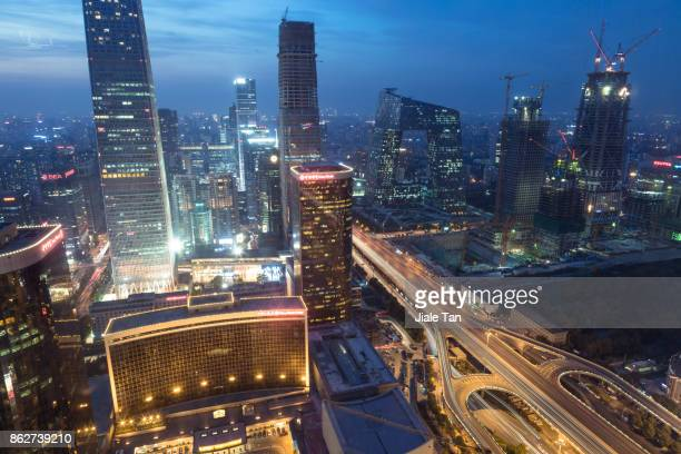 Elevated View of Beijing CBD Skyline at Dusk