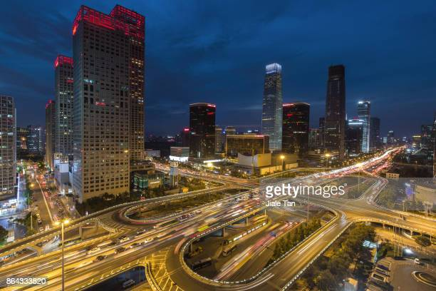 Elevated View of Beijing CBD Skyline at night