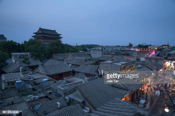 Elevated View of Beijing Drum Tower at Night