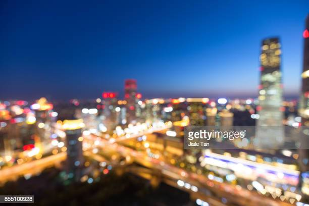 Elevated View of Beijing Skyline at Night