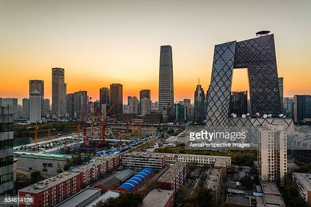 Elevated View of Beijing Skyline at sunset