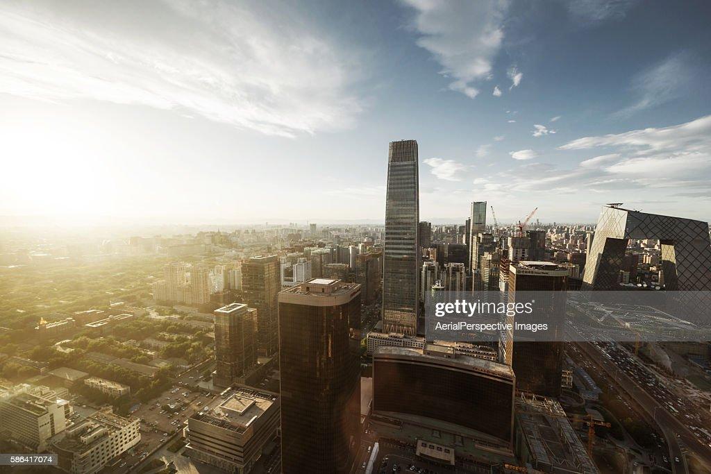 Elevated View of Beijing Skyline in Sunlight