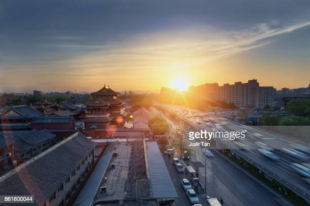 Elevated View of Beijing Yonghe TempleSkyline at dusk