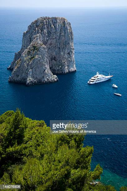 Elevated view of blue waters of the City of Capri an Italian island off the Sorrentine Peninsula on the south side of Gulf of Naples in the region of...