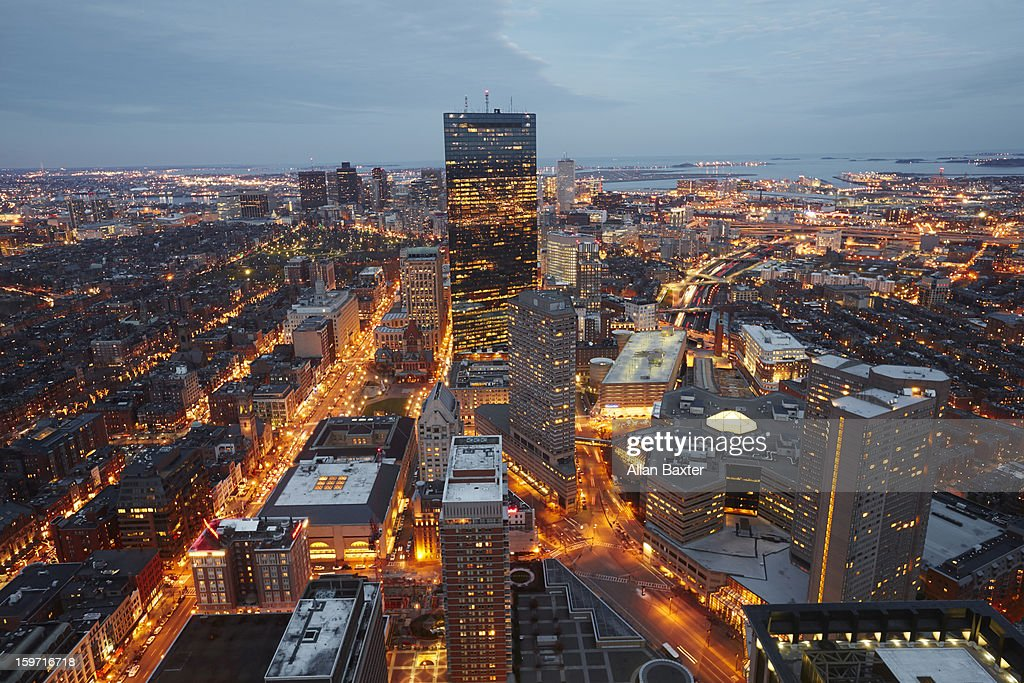 Elevated view of Boston at dusk : Stock Photo