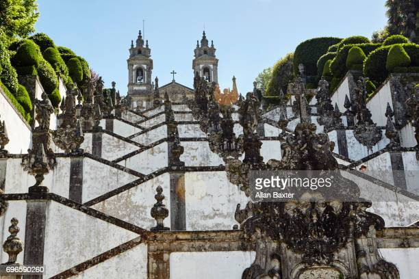 Elevated view of Braga from the baroque 'Bom Jesus do Monte' with stairs in sunrise