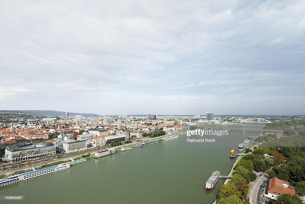 Elevated view of Bratislava, Danube river : Stock Photo