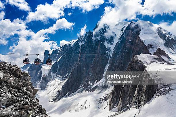 Elevated view of cable cars over snow covered valley at Mont blanc, France