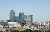 Elevated view of Canary Wharf, London