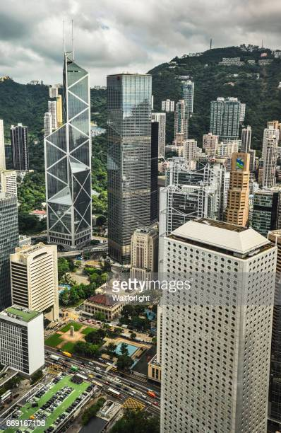 Elevated view of central district scene in Hong Kong
