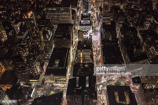 Elevated View Of City At Night