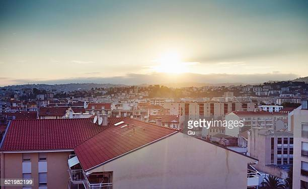 Elevated view of city, Nice, France