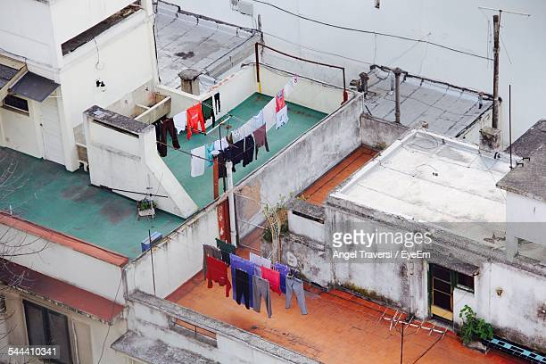 Elevated View Of Clothes Hanging On Clothesline