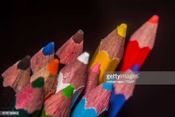 Elevated view of color pencils