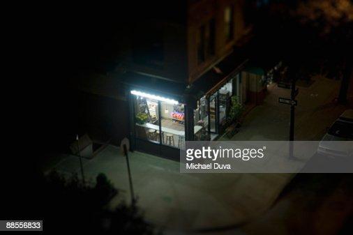 elevated view of corner deli in urban area : Stock Photo
