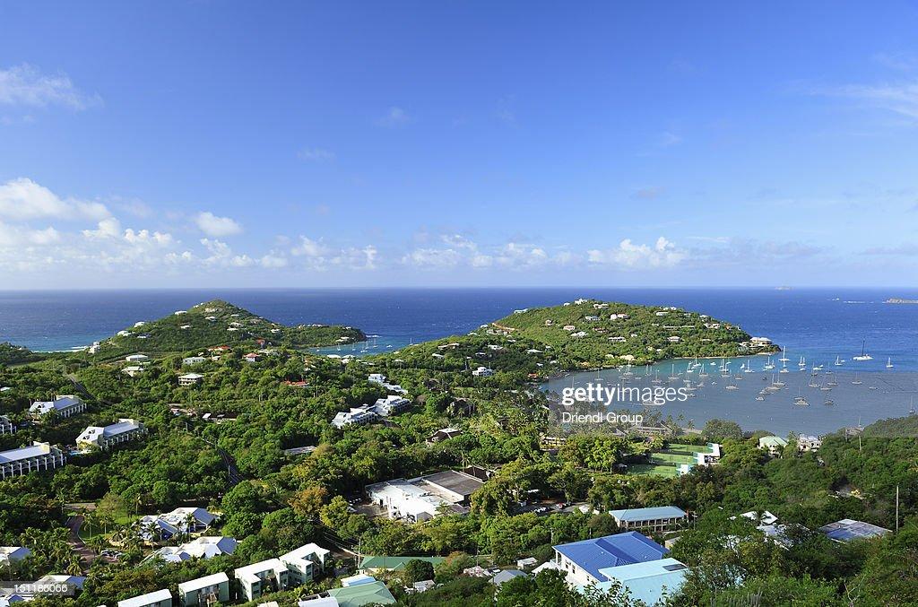 Elevated view of Cruz Bay. : Stock Photo