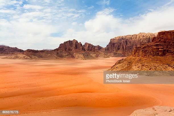 Elevated view of dessert and mountain range, Wadi Ram, Jordan