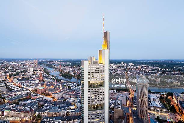 Elevated view of Frankfurt at dusk