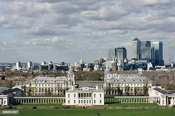 Elevated view of Greenwich University and Canary Wharf, London, UK