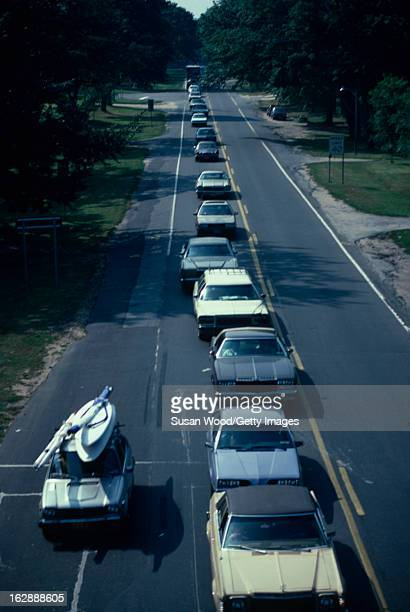Elevated view of Labor Day traffic on Route 27 in the Hamptons New York 1984