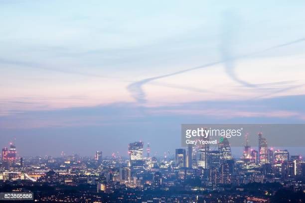 Elevated view of London city skyline at dusk