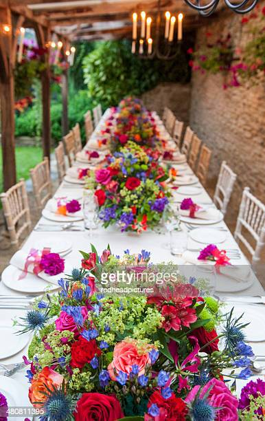 Elevated view of long table at wedding reception