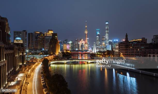 elevated view of Lujiazui and shanghai bund