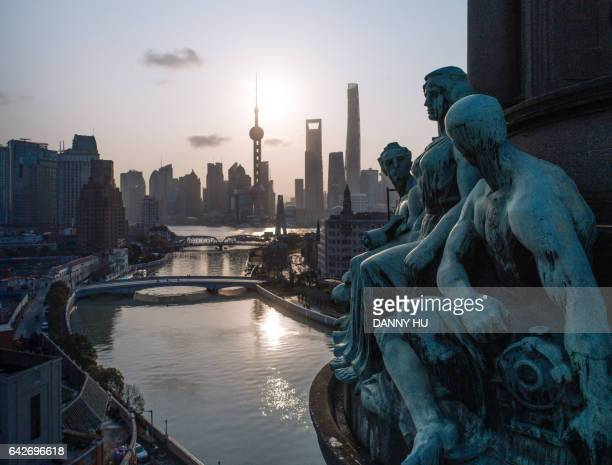 elevated view of Lujiazui and suzhou river from the general post office building in the morning, Shanghai