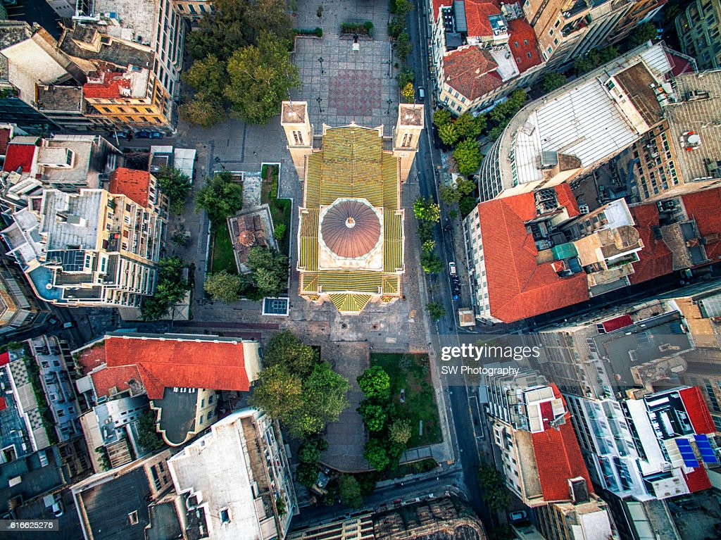 Elevated view of Metropolis Church in Athens, Greece : Stock Photo