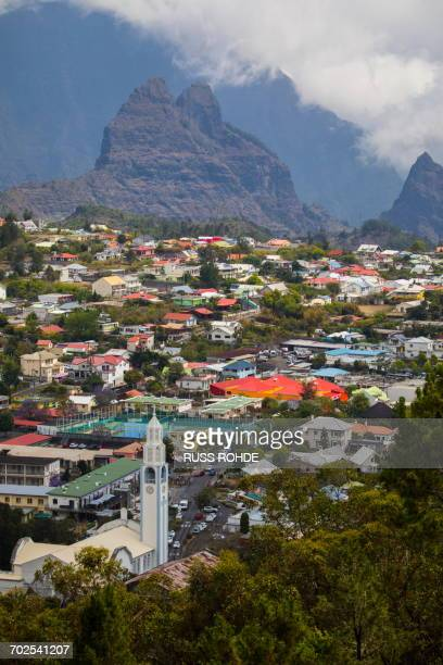 Elevated view of mountain valley village, Reunion Island