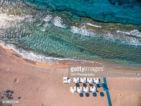 Elevated View of Mykonos Bay Beach : Stock Photo