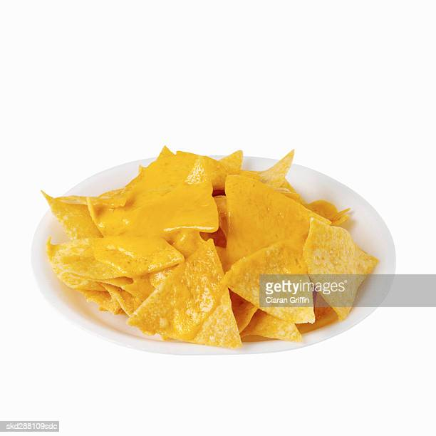 Elevated view of nachos with cheese