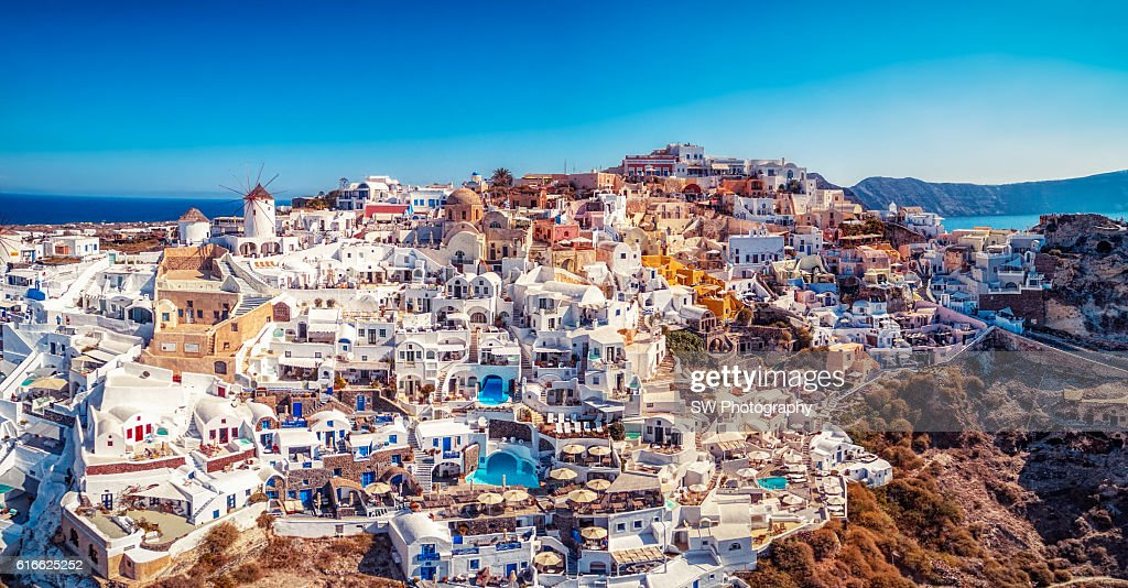 Elevated view of Oia, Santorini, Greece : Stock Photo