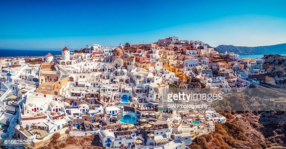 Elevated view of Oia, Santorini, Greece : Stock Photo